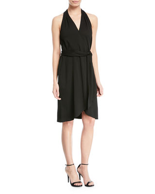 Belted Knee-Length Wrap Dress