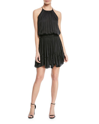 Image 1 of 2: Ruched Halter Mini Dress w/ Flounce Hem