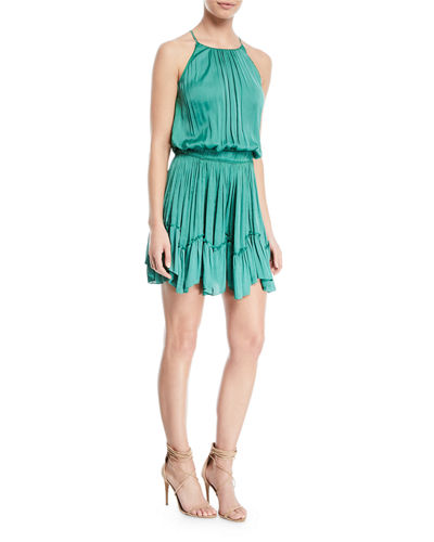 Ruched Halter Mini Dress w/ Flounce Hem