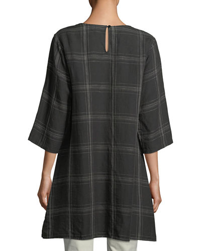 Organic Linen Plaid Tunic, Plus Size