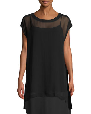 Eileen Fisher Sheer Silk Georgette Long Tunic