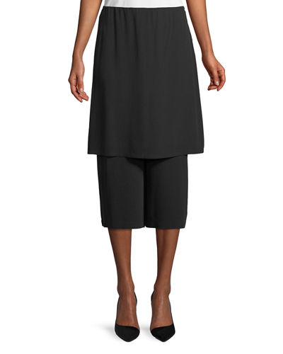 Silk Georgette Wide-Leg Skort