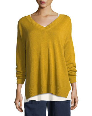 Eileen Fisher Linen Knit V-Neck Top, Petite