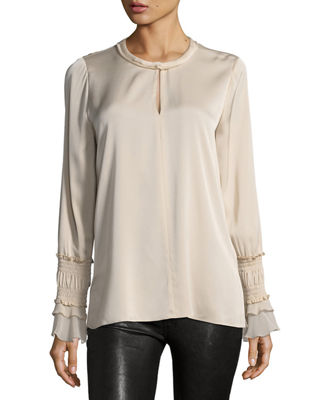 Image 1 of 2: Noemi Stretch-Silk Blouse