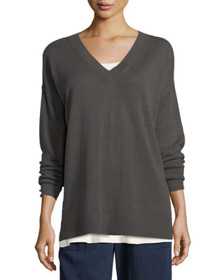 Eileen Fisher Linen Knit V-Neck Top, Plus Size