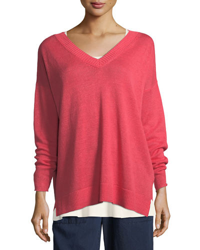 Linen Knit V-Neck Top, Plus Size