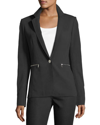 Lyndon Zip-Pocket Punto Blazer, Plus Size