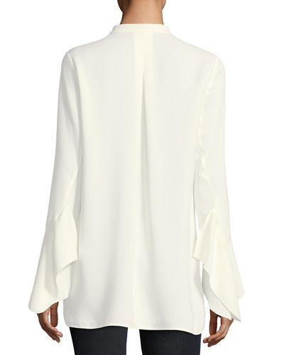 Graydon Bell-Sleeve Silk Blouse, Plus Size