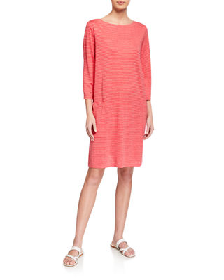Organic Linen Mini Stripe T-Shirt Dress