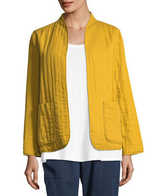Quilted Linen Slub High-Collar Jacket, Petite