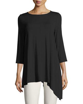 Eileen Fisher Asymmetric Lightweight Jersey Long Top, Plus
