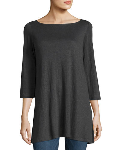 Eileen Fisher 3/4-Sleeve Organic Linen Jersey Tunic and