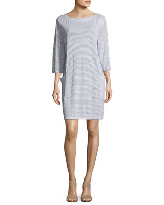 Striped Organic Linen Shirt Dress, Plus Size