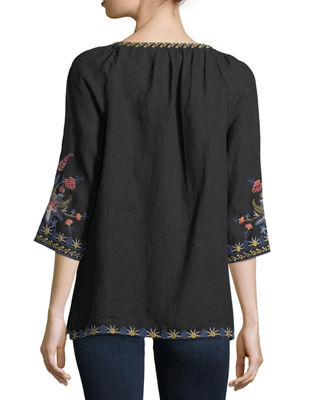 Image 3 of 4: Tivva Embroidered Linen Peasant Top