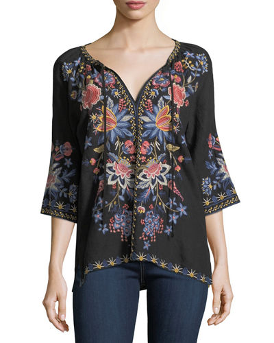 Tivva Embroidered Linen Peasant Top, Plus Size