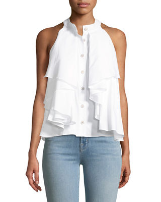 Adrie Button-Front Sleeveless Ruffled Poplin Blouse