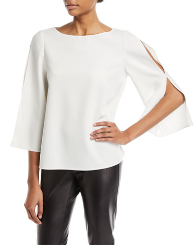 Candace Finesse Crepe Split-Sleeve Blouse