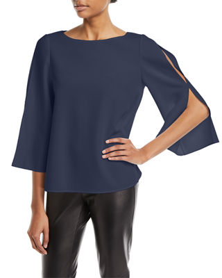 Lafayette 148 New York Candace Finesse Crepe Split-Sleeve