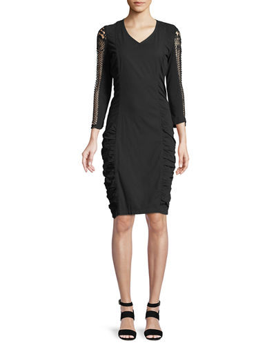 Arya Stretch Poplin Ruched Lace Dress, Plus Size