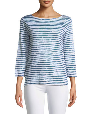 Majestic Paris for Neiman Marcus 3/4-Sleeve Dyed-Stripe Linen
