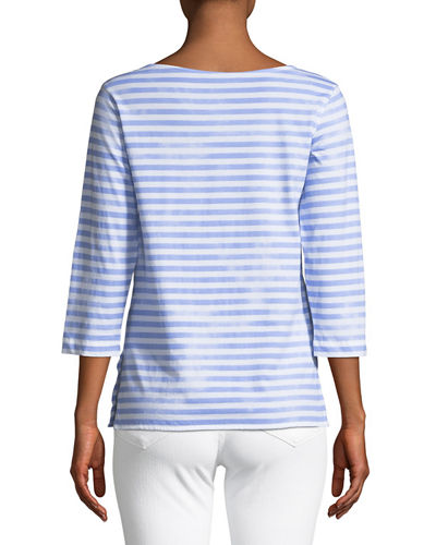 3/4-Sleeve Striped Boat-Neck Top