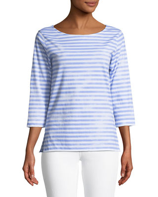 Majestic Paris for Neiman Marcus 3/4-Sleeve Striped Boat-Neck