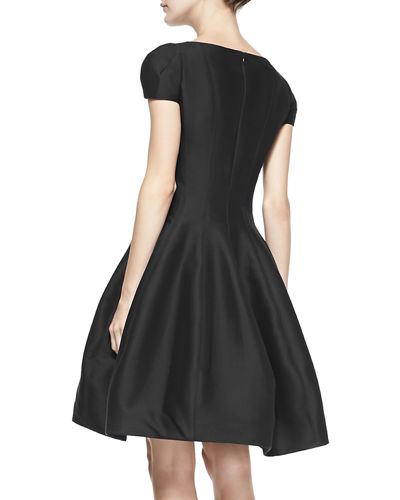 Halston Reo Maggie Tulip-Skirt Split-Neck Dress