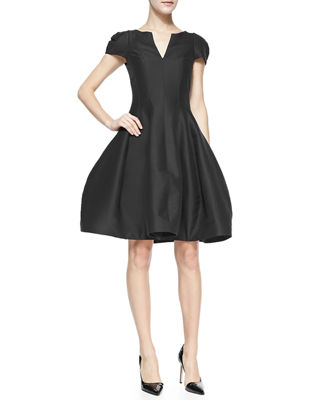 Halston Heritage Maggie Tulip-Skirt Split-Neck Dress