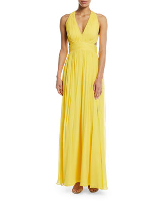 Aidan Mattox V-Neck Open-Back Gown w/ Cutout Sides
