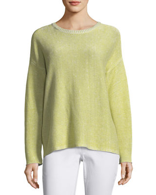 Eileen Fisher Plaited Organic Linen Box Top and