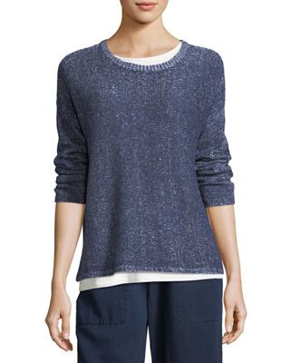 Eileen Fisher Plaited Organic Linen Box Top, Petite