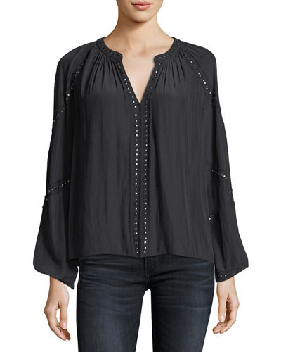 Ramy Brook Gilda V-Neck Long-Sleeve Top with Embellishments