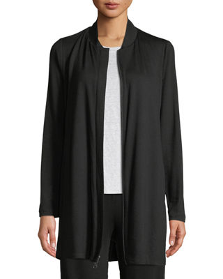 Image 1 of 3: Stretch-Knit Long Bomber Jacket