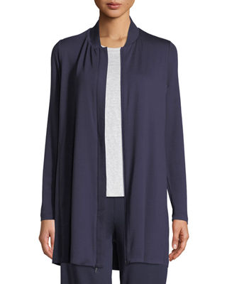 Eileen Fisher Stretch-Knit Long Bomber Jacket