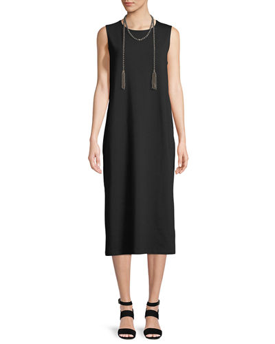 Stretch Jersey Sleeveless Midi Dress