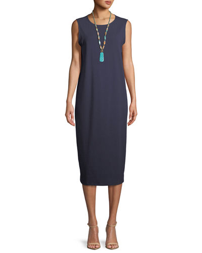Stretch Jersey Sleeveless Midi Dress, Petite