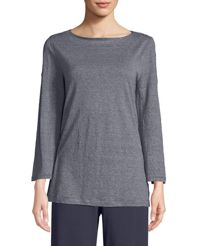 Eileen Fisher Jersey Stripe Bateau-Neck Linen Top and