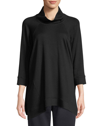 Stretch Terry Funnel-Neck Top