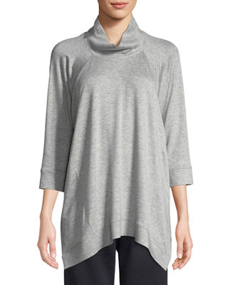 Image 1 of 3: Stretch Terry Funnel-Neck Top