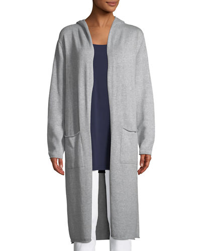 Hooded Peruvian Organic Cotton Long Cardigan