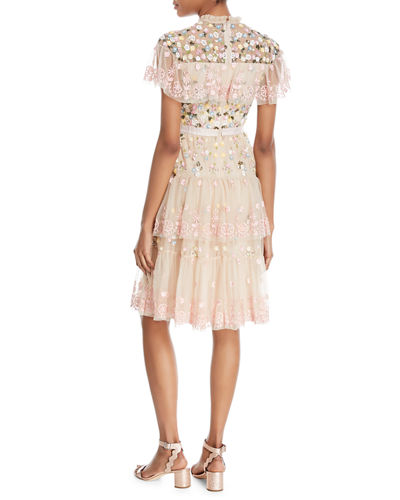 Tiered Anglais Embroidered Tulle Cocktail Dress with Sequins