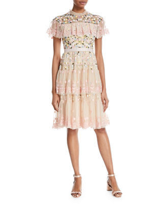 Needle & Thread Tiered Anglais Embroidered Tulle Cocktail