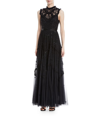 Daisy Shimmer Sleeveless Embellished Evening Gown