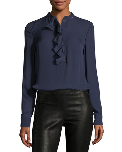 Alverna Ruffled Long-Sleeve Blouse