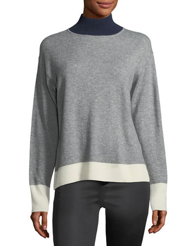 rag & bone/JEAN Rhea Turtleneck Colorblocked Wool-Cashmere
