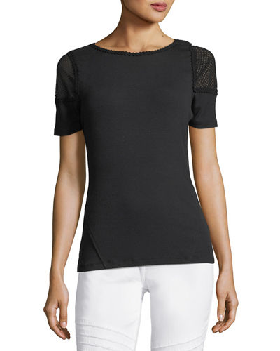 Elie Tahari Noshra Short-Sleeve Knit Blouse