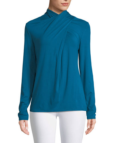 Keilani Twist-Neck Knit Blouse
