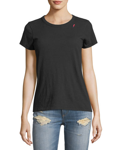 Crewneck Short-Sleeve Cotton Tee with Thunderbolt Embroidery