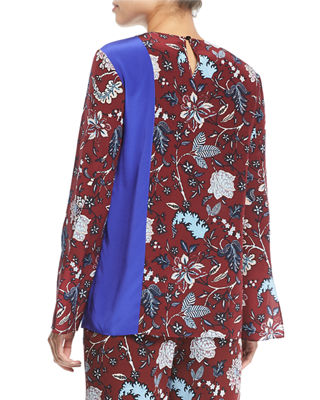 Image 2 of 4: Floral-Print Side-Slit Silk Blouse