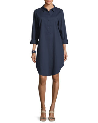 Long-Sleeve Soft Twill Henley Shirtdress
